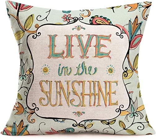 Fukeen Inspirational Quotes Throw Pillow Case Flower Leaves Decorative Cotton Linen Cushion Covers Standard 18x18 Inches Home Living Room Decor Pillowcases Live In The Sunshine Amazon Co Uk Kitchen Home
