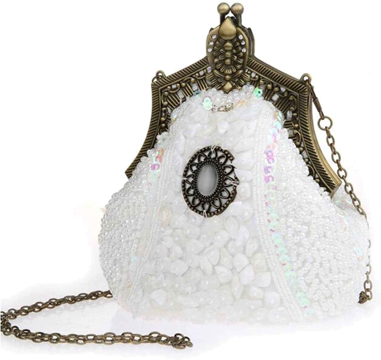 EPLAZA Women Rhinestone Sequin Beaded Satin Evening Clutch Bags Retro Party Handbags Purse