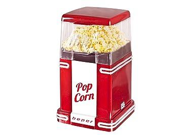 Beper 90.590 Pop Corn Retro Máquina para hacer palomitas, 630 W, Blanco y rojo.