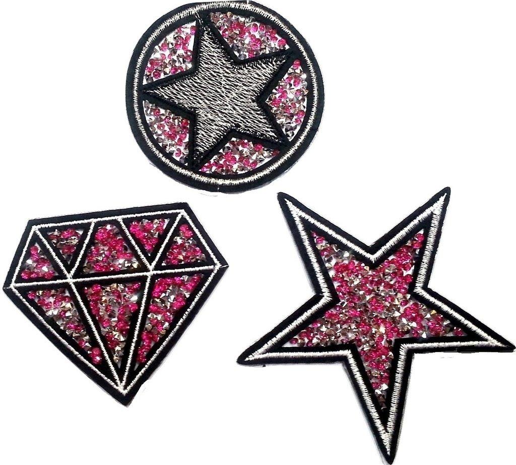 stella 10 cm Toppe Toppa Applique applicazioni strass termoadesive da cucire termoadesive Patch strass per tessuti jeans stoffa Diamante 8cm cerchio stella 7 cm In colore rosa