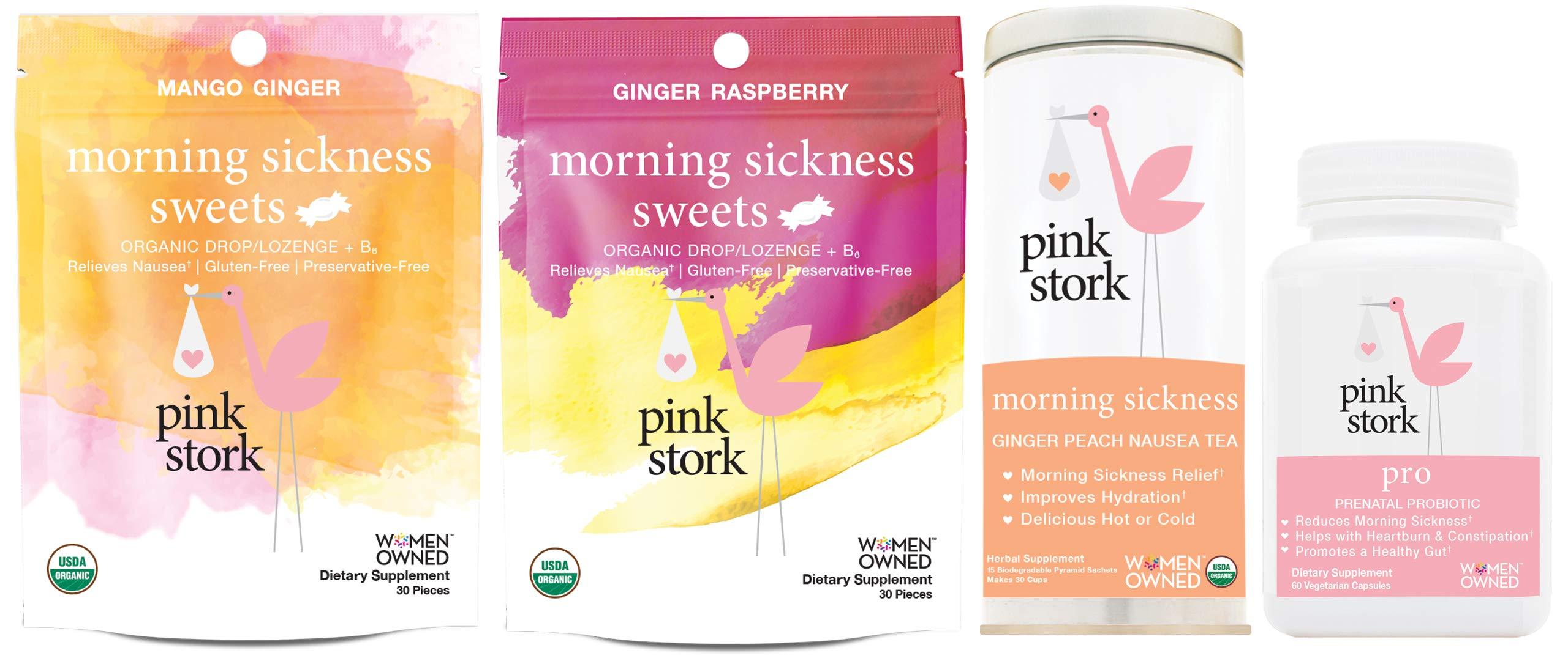 Pink Stork Morning Sickness Bundle: New & Improved Nausea Relief with Pink Stork Pro, Morning Sickness Tea, and Morning Sickness Sweets by Pink Stork