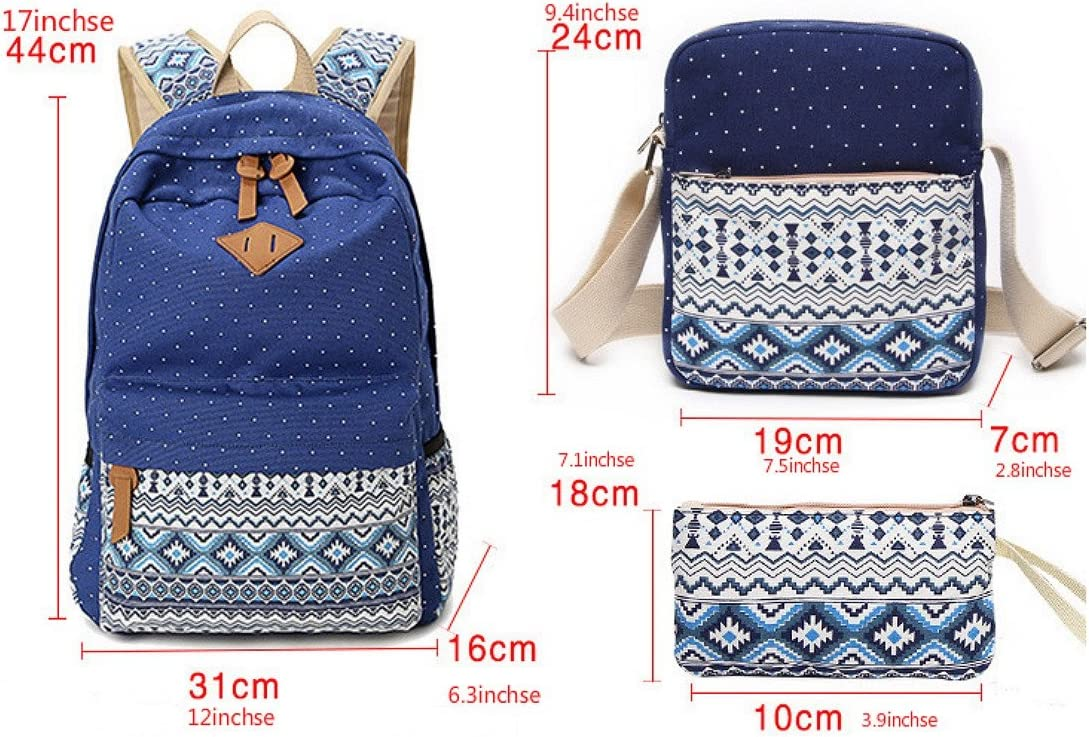 Canvas Backpack Set 3 Pcseisure Backpack Students Backpack School Bags Fashion National Wind