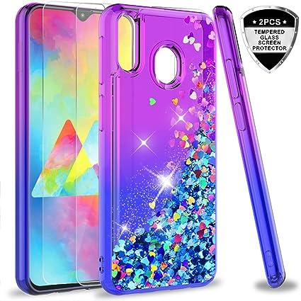 LeYi Compatible con Funda Samsung Galaxy M20 M 20 Silicona Purpurina Carcasa con [2-Unidades Cristal Vidrio Templado],Transparente Cristal Bumper TPU Gel Case Cover para Movil Samsung M20 Azul: Amazon.es: Electrónica