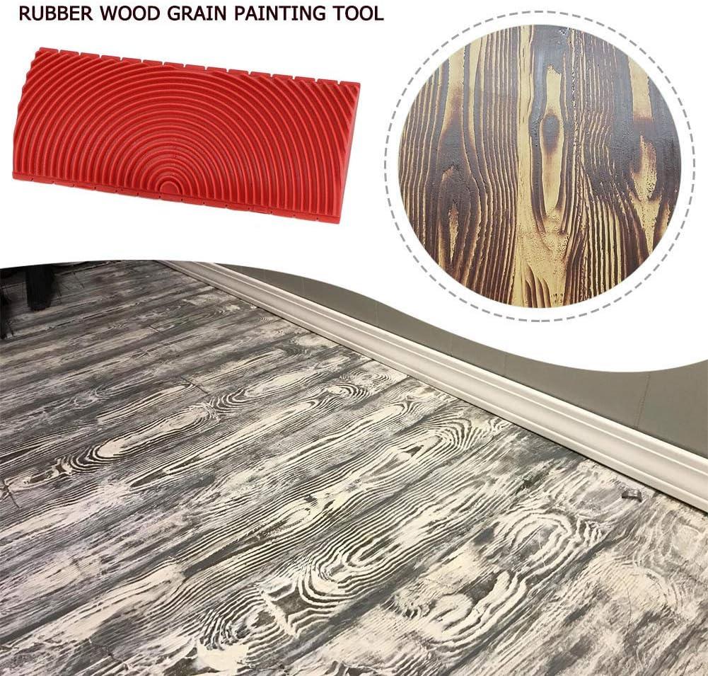 Glomixs Household Wall Art Paint Rubber Wood Graining DIY Tool Set Rouge 2 en 1 Wood Graining Tool