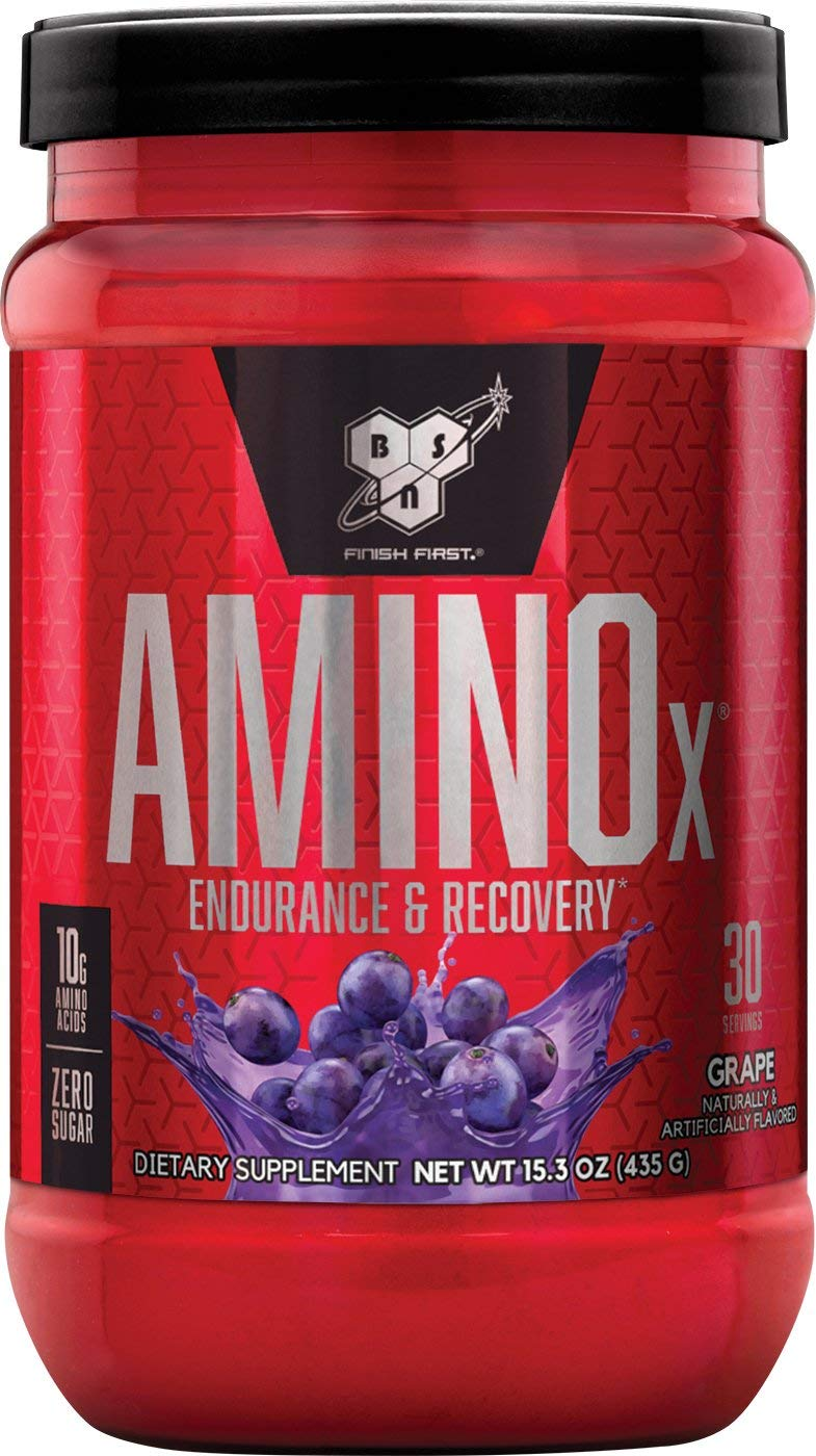 BSN Amino X Muscle Recovery & Endurance Powder with BCAAs, 10 Grams of Amino Acids, Keto Friendly, Caffeine Free, Flavor: Grape, 30 Servings (Packaging May Vary)