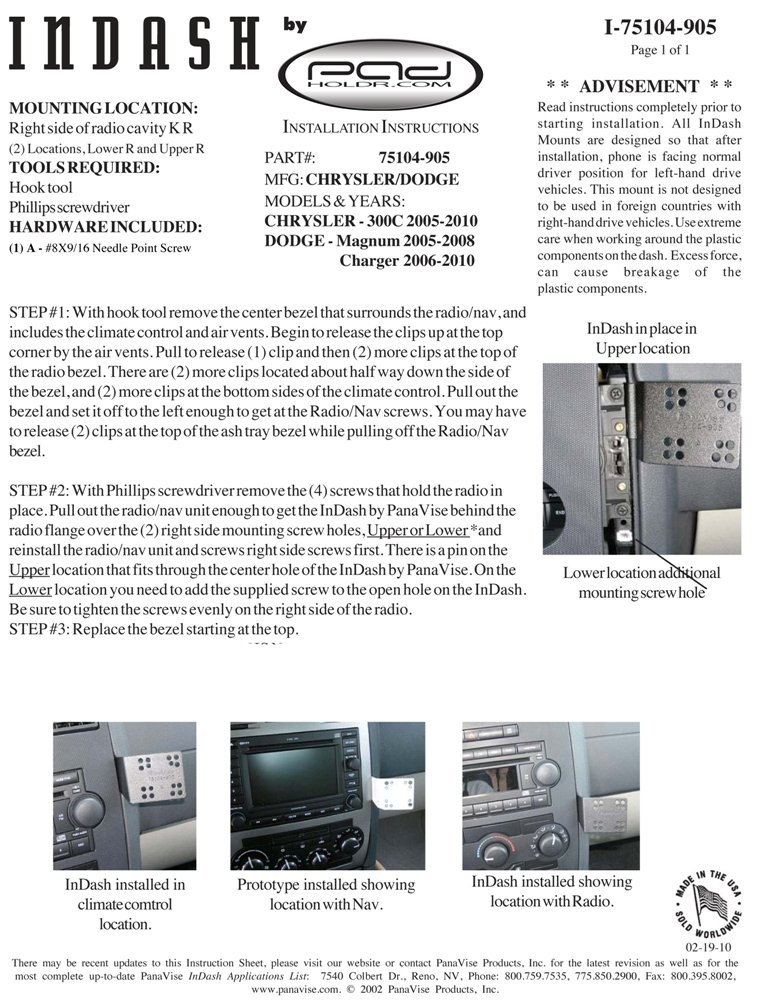 Padholdr Utility Series Premium Locking Tablet Dash Kit for 2005-2010 Chrysler 300C Pad Holdr PHU3275104-905-1