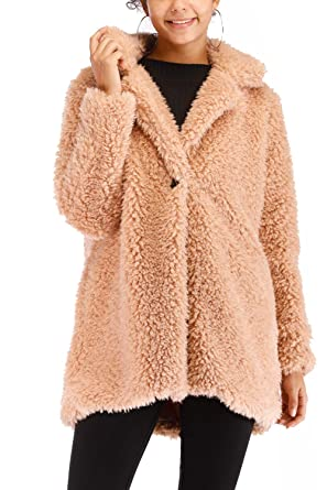 b7dec415851 Kooosin New Women s Warm Fluffy Long Sleeve Faux Zip Fastening Winter Coat  Plus Size (S