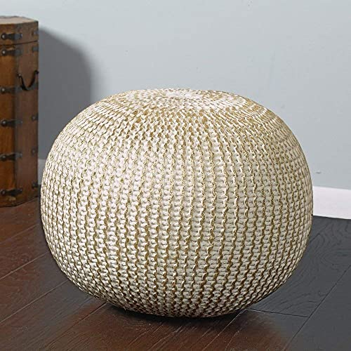 L.R. Resources Fairbanks Bone Knitted Pouf Ottoman, 1 4 x 1 8 , Ivory Gold –