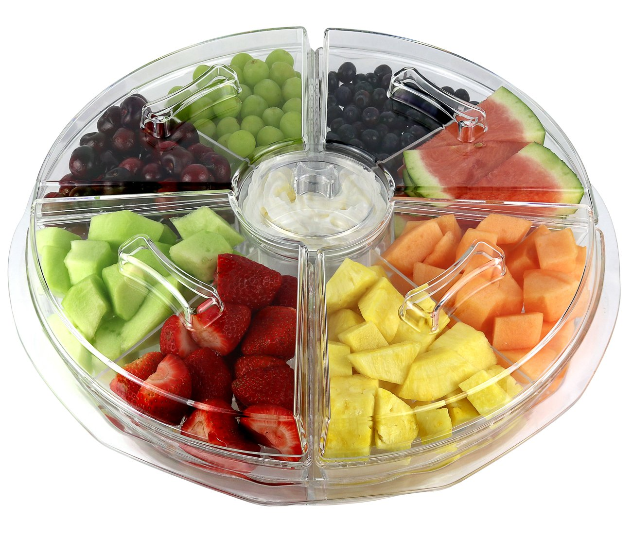 Estilo 8 Section Appetizer Platter On-Ice with Lids, Clear