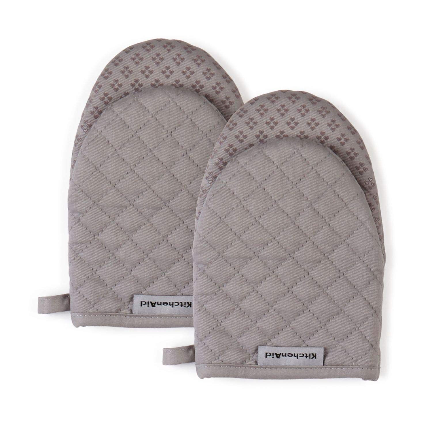 KitchenAid Asteroid Mini Cotton Oven Mitts with Silicone Grip, Set of 2, Gray