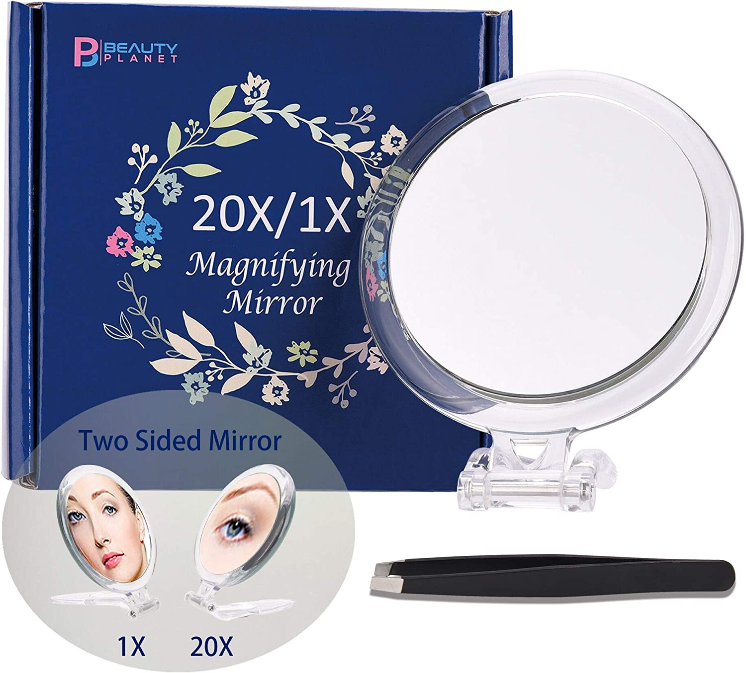 Beauty Planet 20X & 15X Magnifying Mirror Set Combo,6Inch 15X Magnified Mirror with 3 Suction Cups, 4 Inch 20X/1X Makeup Mirror with Handheld/Stand, Use for Makeup Application(Combo): Furniture & Decor