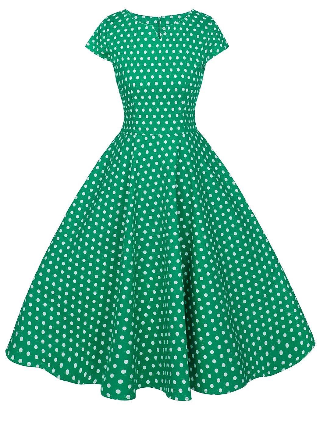 TALLA XL. FAIRY COUPLE 1950S Vintage Rockabilly Lunares Cap Mangas Vestido de Baile DRT019 Verde Pequeña Blanco Puntos XL