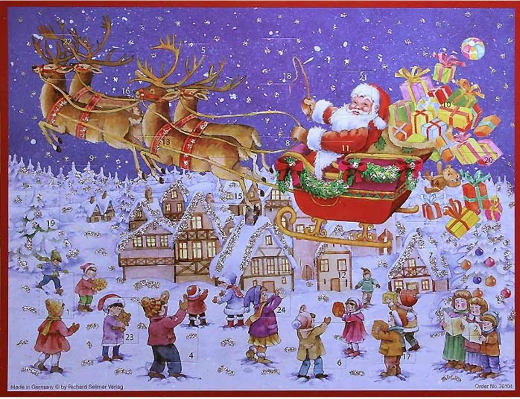 Santa Claus Delivering Gifts Over Village German Advent Calendar (approx 10.5 x 14-inches) (70101)