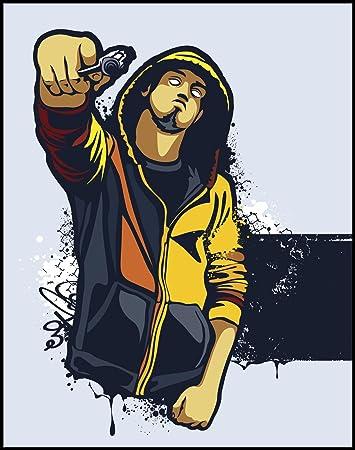 Amazon Com Scary Violent Graffiti Style Gangster Holding A Gun