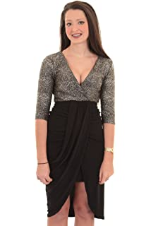 27c6d1bc5f FANTASIA BOUTIQUE ® Ladies 3 4 Sleeve Plunge V Wrap Front Gathered Silver  Gold Contrast