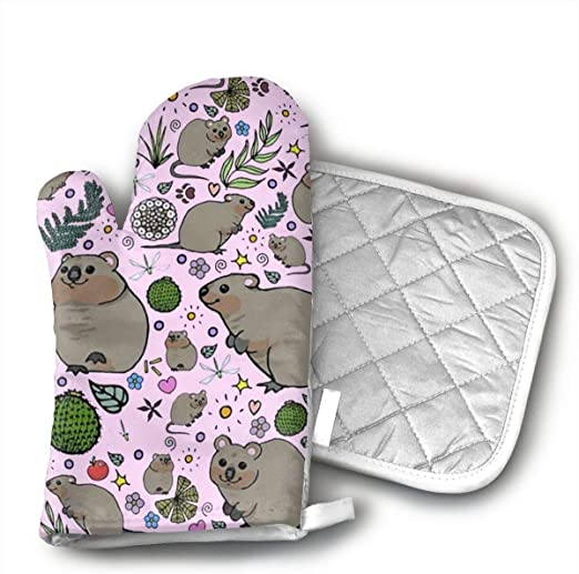 Grilling. Space Llama Oven Mitts and Pot Holders for Kitchen Set,Heat Resistant,Oven Gloves for BBQ Cooking Baking