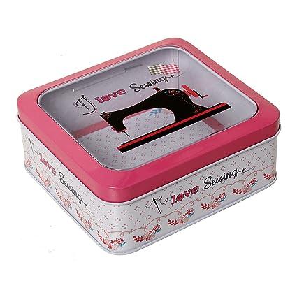 DonRegaloWeb - Caja cuadrada de metal con tapa con ventana y decoración maquina de coser en