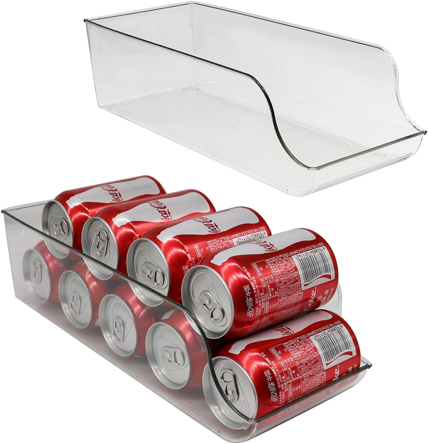 2 Pcs Can Drink Storage Holder,Beverage Dispenser for Refrigerator,Countertop,Cabinets,Pantry,Hold Up To 9 Standard Size (11oz) Cans