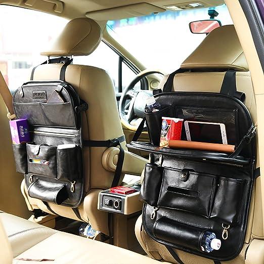 "Back Seat Car Organizer for Kids Foldable Dining Table 9.7"" Tablet Holder PU Leather Travel Storage Bag (black)"