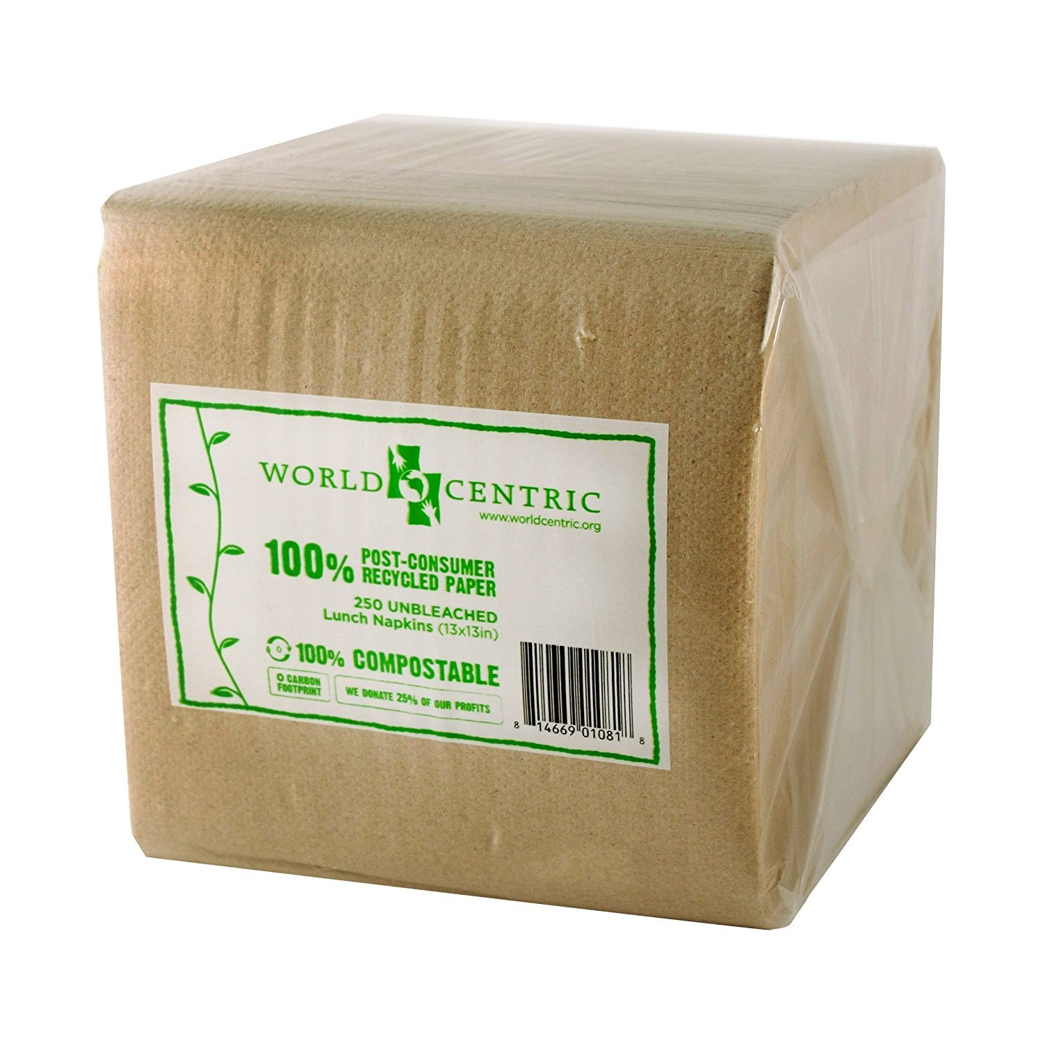 World Centric 100% Post-Consumer Recycled Paper Unbleached Lunch Napkins 250 count