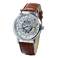 TOOGOO(R) (Brown Strap & White Dial) Men's Faux Leather Band Wrist Skeleton Watch