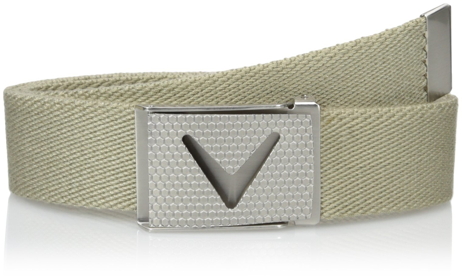 Callaway Men's Golf Cut To Fit Solid Webbed Belt, Beige (254), One Size