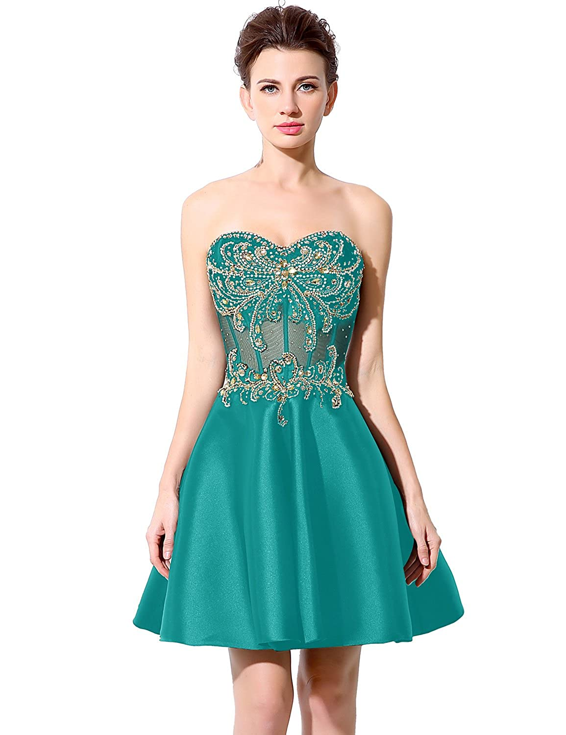 Favebridal Women's Strapless Beading Crystal Stain Prom Dress Party Gown LX005