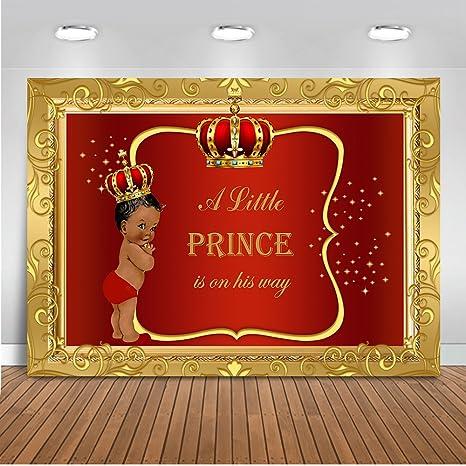 Mehofoto Royal Baby Shower Backdrop Little Prince Red Gold Photography Background 7x5ft Vinyl Boy