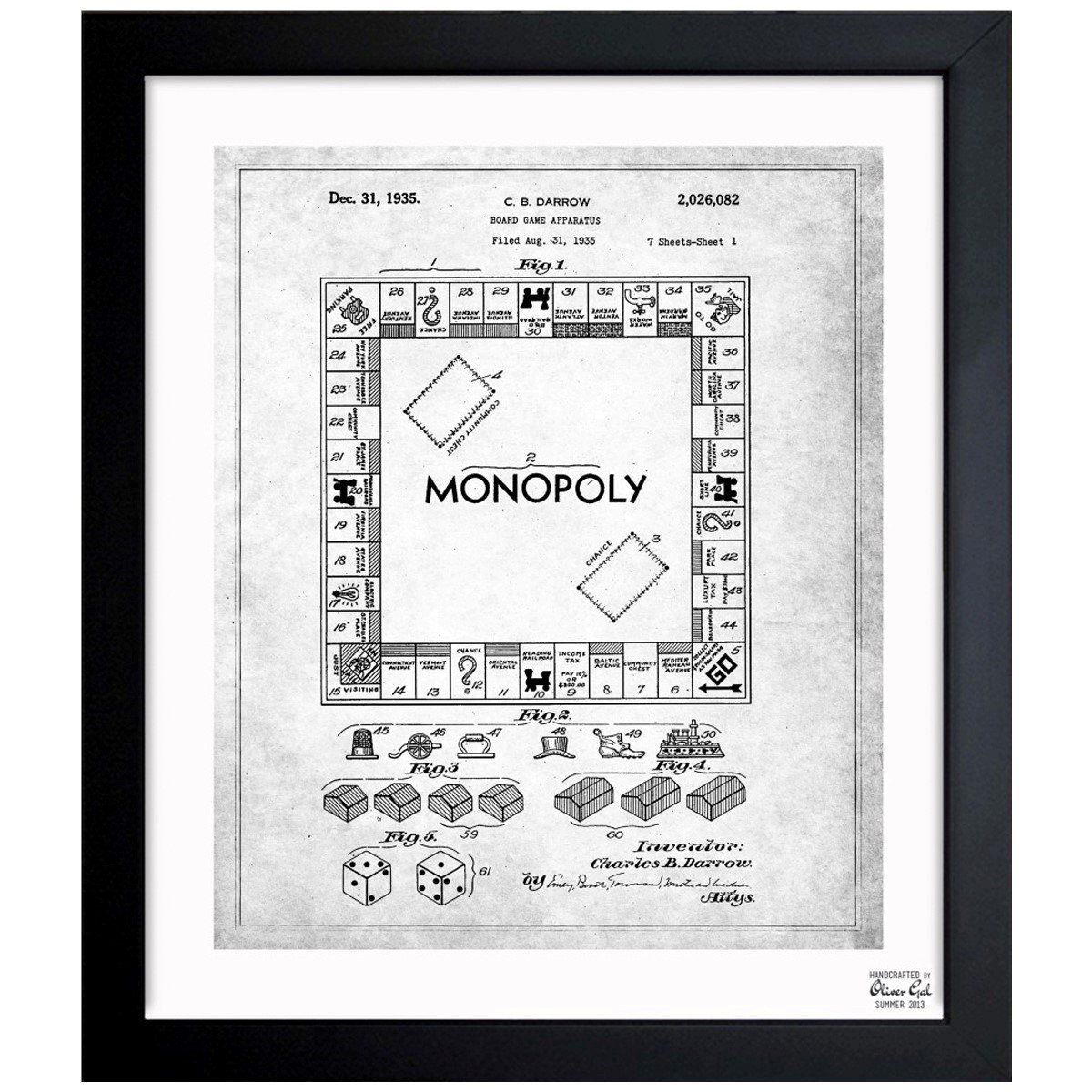 Monopoly 1935 - Noir Vintage Framed Wall Art Print for Home decor & Office. The Toys Wall Decor Blueprint Collection by Oliver Gal Hand Framed and Ready to ...