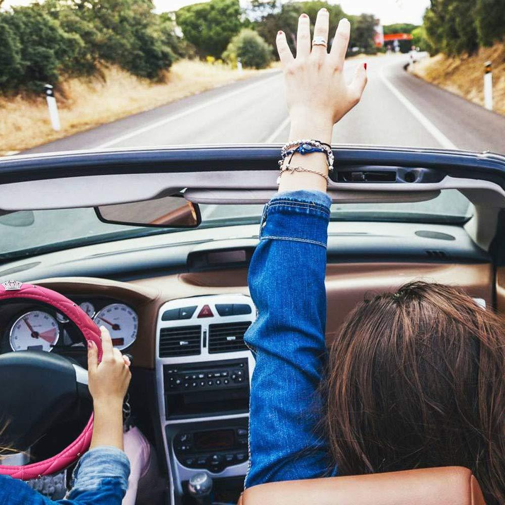 QIANGUANG Cubiertas del volante para el coche de ni/ña en l/átex con corona y diamantes colecci/ón de moda y elegante