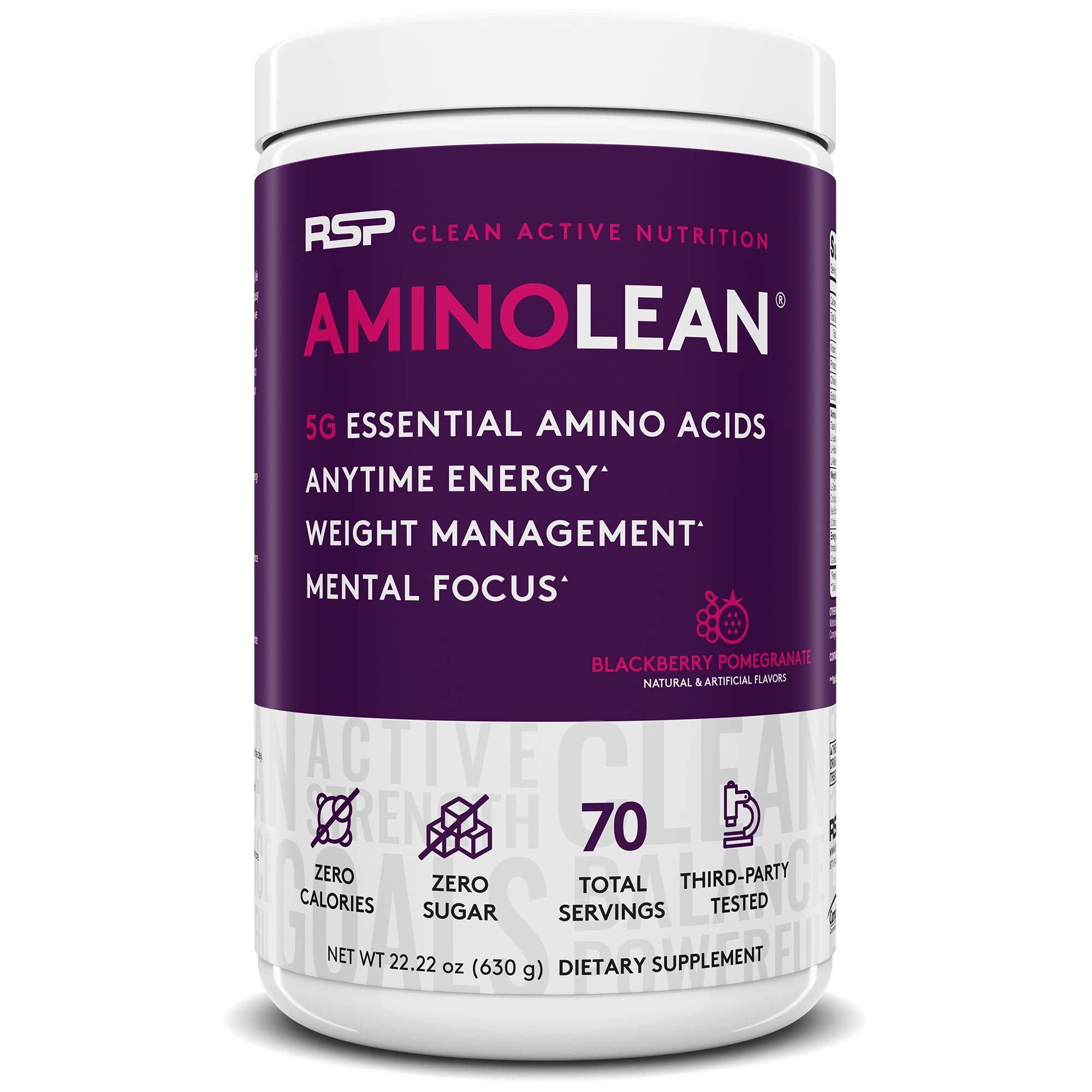 RSP AminoLean - All-in-One Pre Workout, Amino Energy, Weight Management Supplement with Amino Acids, Complete Preworkout Energy for Men & Women, Blackberry Pom, 70 (Packaging May Vary) by RSP Nutrition