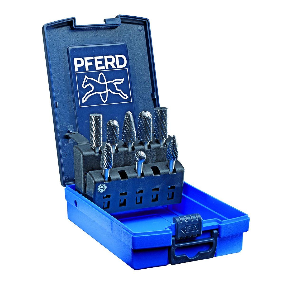 1//4 Shank 1//4 Shank PFERD Inc. PFERD 26547 8 Piece Double Cut Carbide Bur Set with Plastic Case