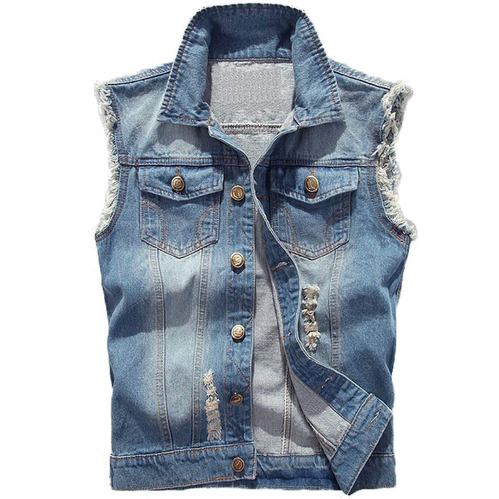 Saukiee Men's Casual Lapel Denim Vest Jacket Vintage Slim Fit Sleeveless Ripped Jeans Vests Light Blue by Saukiee
