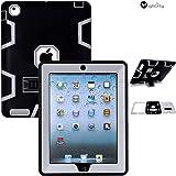iPad 2/3/4 Case - MagicSky Heavy Duty Shock-Absorption Rugged Hybrid Case Cover for iPad with Retina Display (iPad 4), iPad 3, iPad 2 - Grey/Black