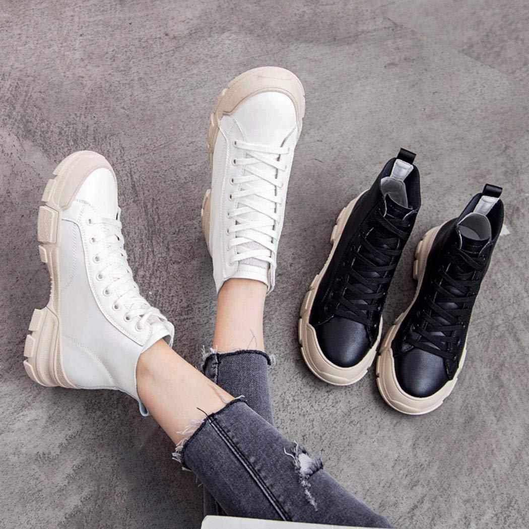 Oplon Frauen-beiläufige weiche Breathable Feste Schnürung erhöhen Martin-Aufladungen Stiefel Stiefel Stiefel & Stiefeletten 6667fa