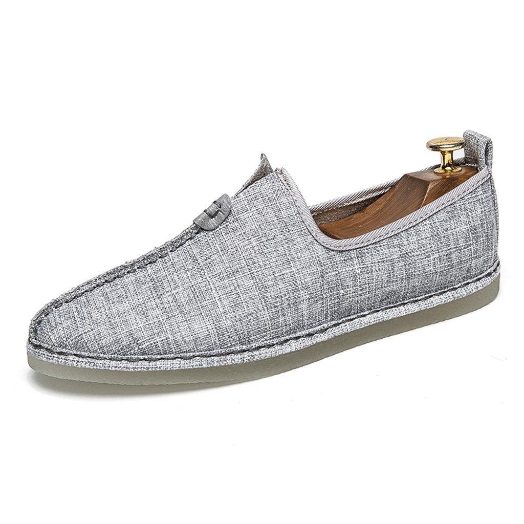 Chinesischer TangAnzug Hanfu chinesischen Stil Herren Leinen faule Schuhe Sommer Segel alten Peking Zen Schuhe Retro Herrenschuhe (Farbe : Grau  größe : 7UK=41EU) Grau