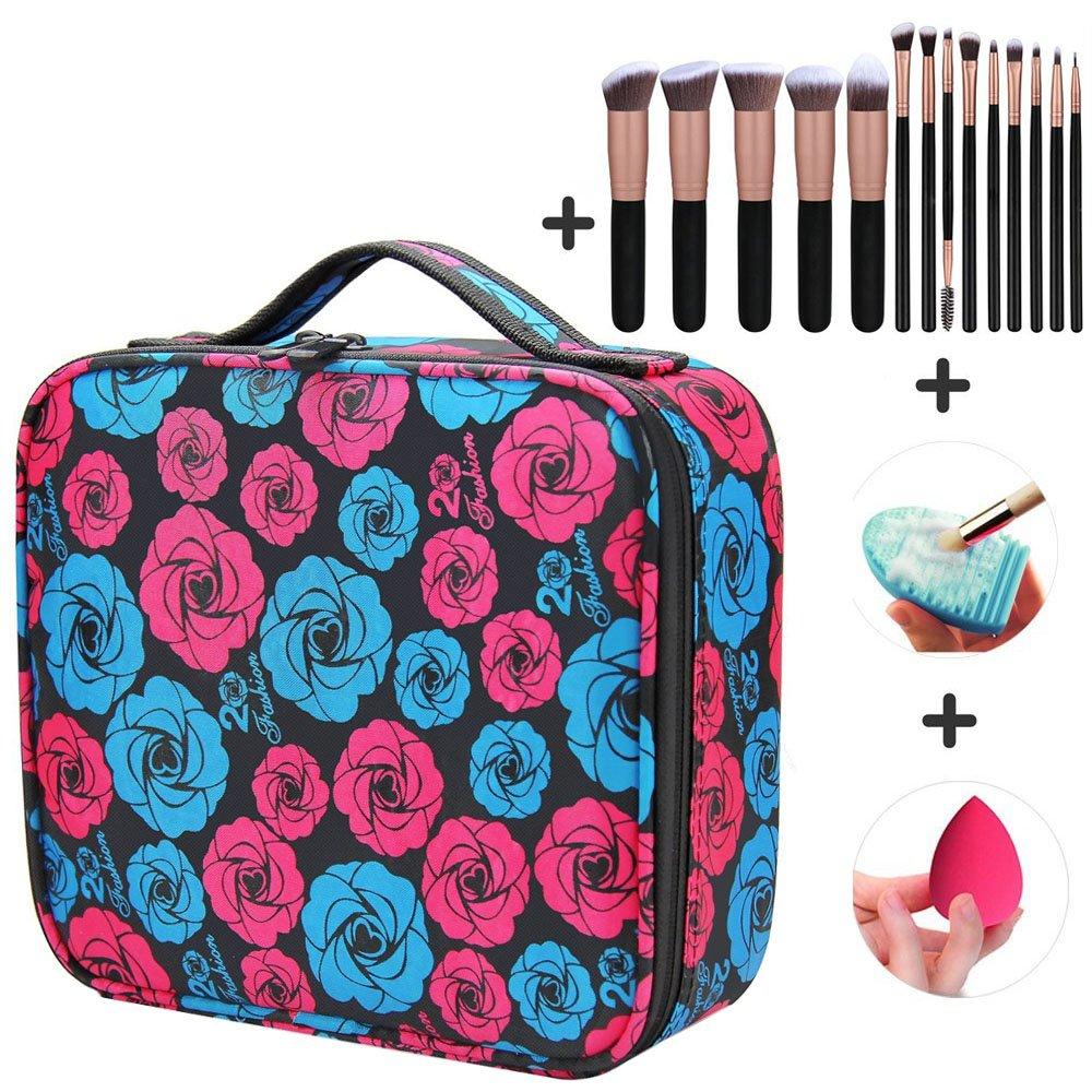 Makeup Case Gift Set Cosmetic Bag Travel Makeup Train Case Black with 14 Pcs Premium Makeup Brushes Set Kit Rose Golden, Blender Sponge and Brush Egg Best Gift Idea For Woman And Girl(Rose)