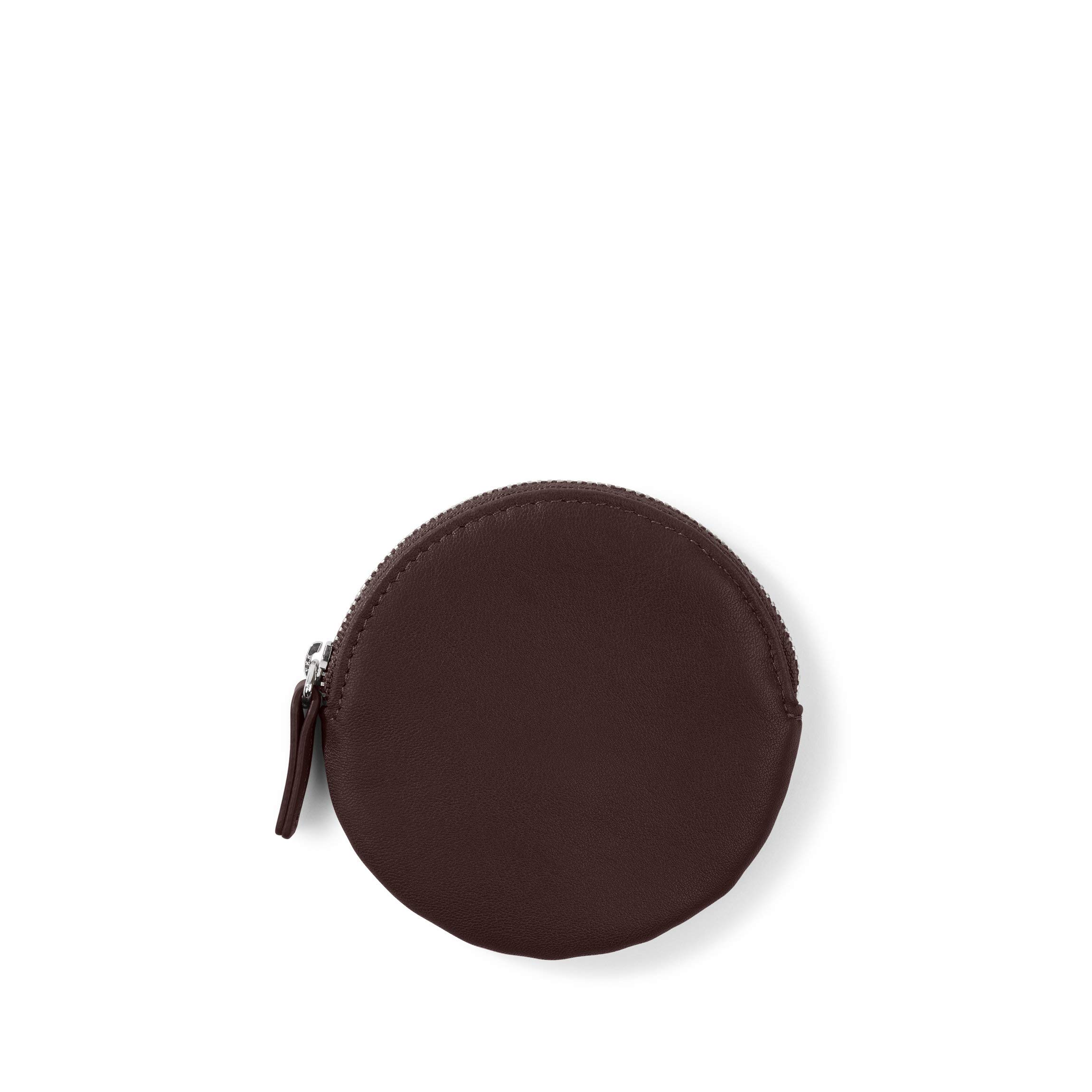 Round Coin Pouch - Full Grain Leather Leather - Brown (Brown)