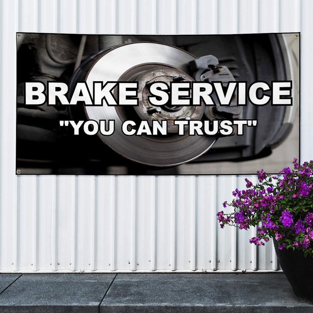 6 Grommets Vinyl Banner Sign Brake ServiceYou Can Trust Automotive Marketing Advertising Black Set of 2 32inx80in Multiple Sizes Available