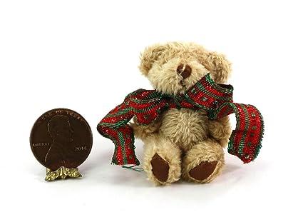 Dollhouse Miniature 1:12 Artisan Soft /& Fuzzy Teddy Bear with Christmas Bow