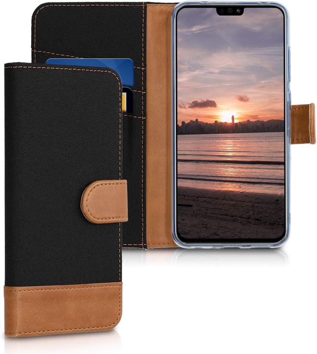 kwmobile Funda Compatible con Huawei Honor 8X - Carcasa de Tela y Cuero sintético Tarjetero Negro/marrón
