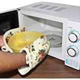 Vmoni Microwave Oven Pot Holder Thermal Pad & Heat Proof Hand Gloves Kitchen Safety Utility For Baking BBQ (Random Design / Color)