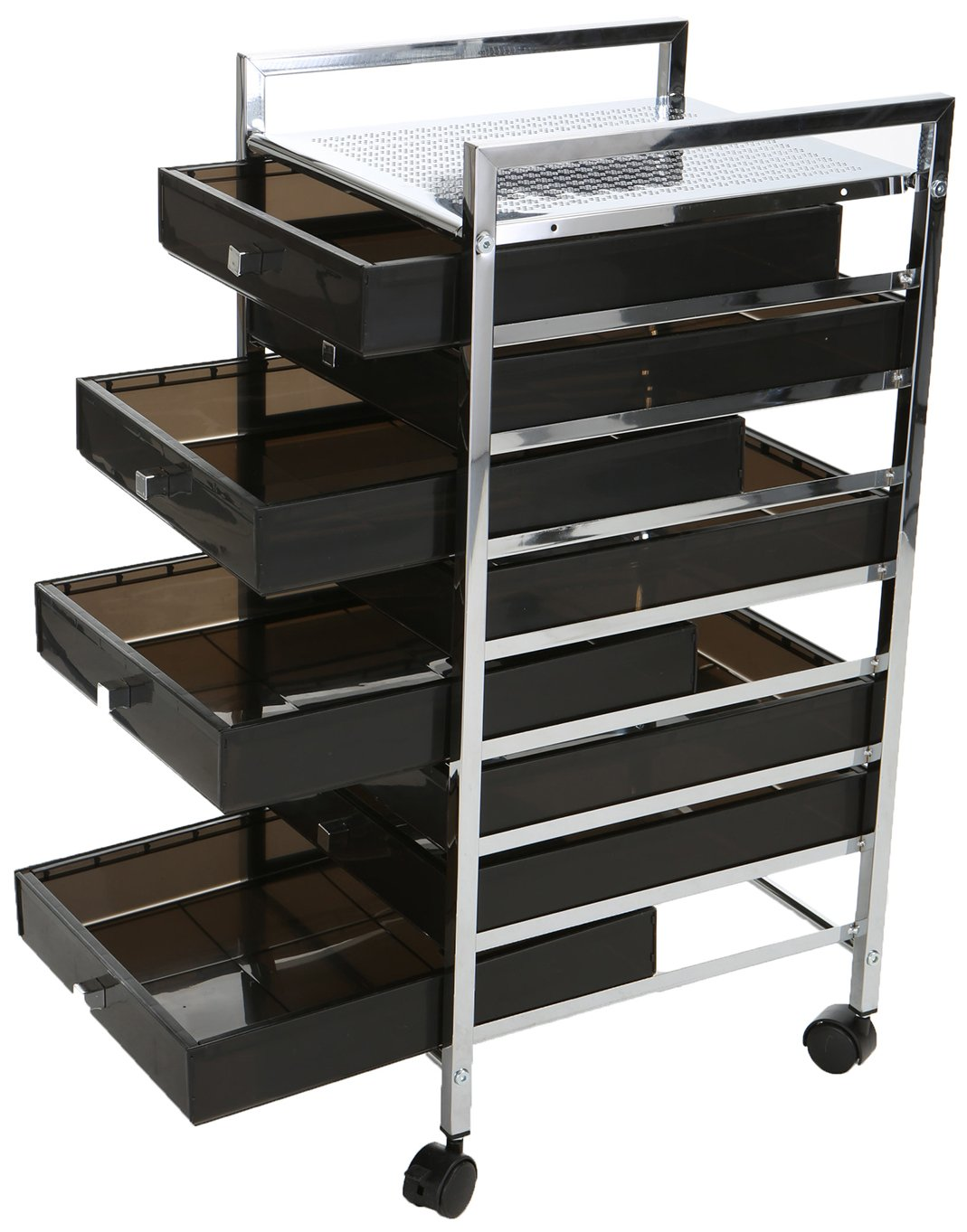 Mind Reader Rolling Storage Cart and Organizer with 8 Plastic Drawers and 2 Handles by Mind Reader