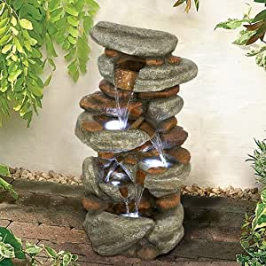 """Scottfe 4-Tier Rock Water Fountain with LED Lights - Outdoor Water Fountains Cascading Floor Water Feature Art Decor for Garden, Pation, Deck, Porch (Grey, 30"""" H)"""