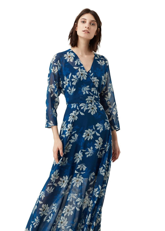 MANGO - Printed long Long dress - Size:14 - Color:Blue