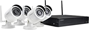 SAMSUNG Wisenet SNK-B73041BW 4 CH 1080p Full HD NVR Video Security System with 1TB Hard Drive and 4 1080p Wireless Weather Resistant Bullet Cameras (Renewed) (Dual Antenna) (SNK-B73040-MRF-FBA)