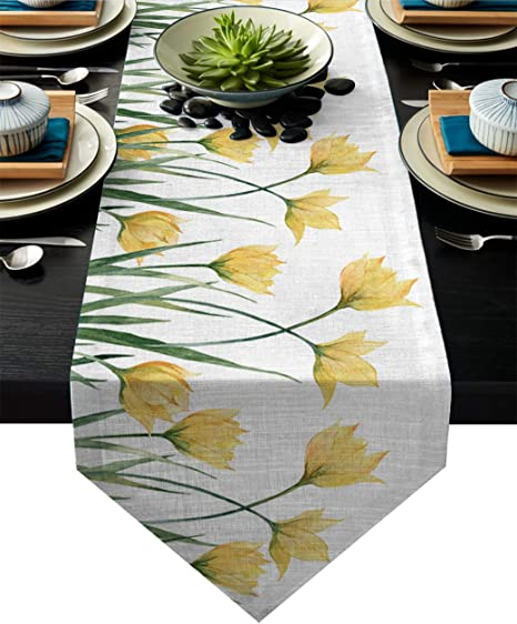 Yellow and White Lace Table Runner  Dresser Scarf  Vanity Topper