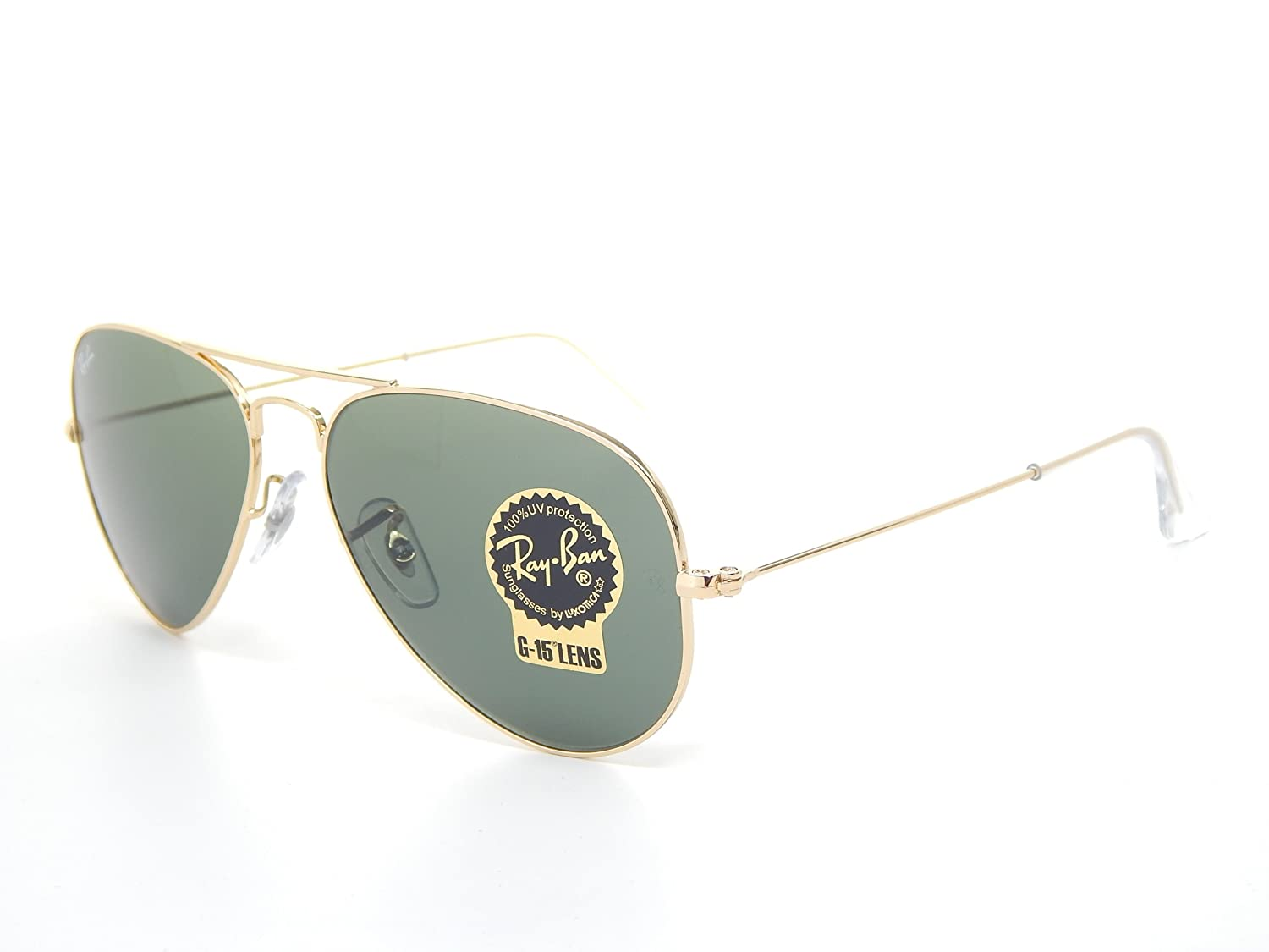 93212afd51 Amazon.com  Ray Ban Aviator RB3025 W3234 Gold  Green Classic G-15 55mm  Sunglasses  Clothing