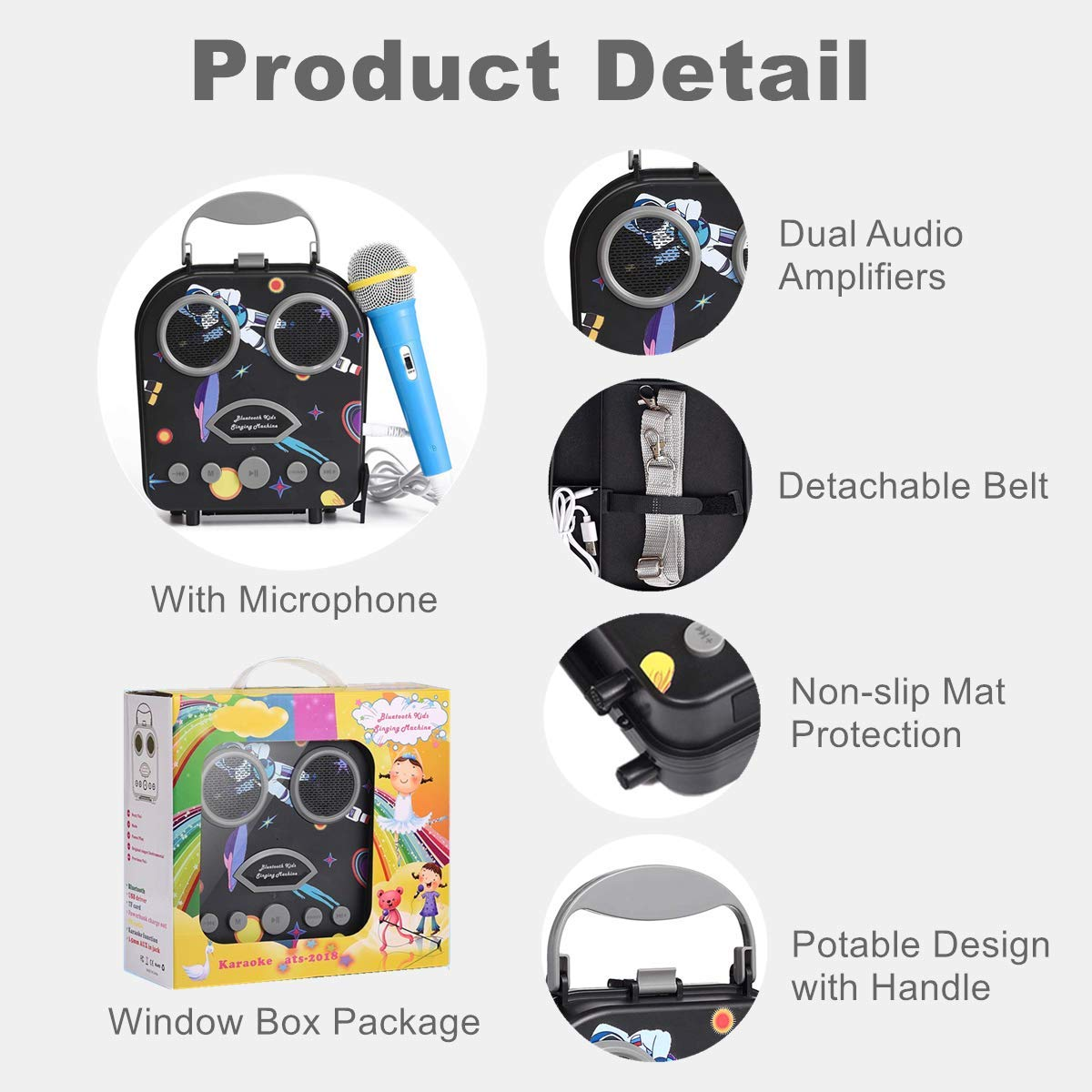 Kids Karaoke Machine with Microphone, Bluetooth Rechargeable Kids Handbag Karaoke Music Player Toy Children MP3 Player Loudspeaker with Microphone (Handbag Black) by Kidsonor (Image #3)