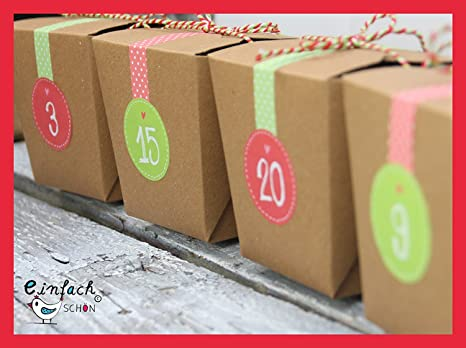 Calendario de Adviento Cajas de regalo m Fuerza Rojo/Verde Cajas de papel de estraza